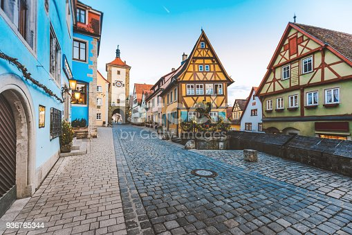Historic town Rothenbourg ob der Tauber with colorful houses on street, Franconia, Bavaria, Deutschland.