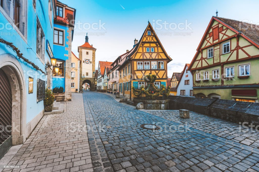Old Town of Rothenburg ob der Tauber, Germany stock photo