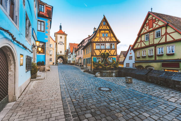 Old Town of Rothenburg ob der Tauber, Germany Historic town Rothenbourg ob der Tauber with colorful houses on street, Franconia, Bavaria, Deutschland. germany stock pictures, royalty-free photos & images