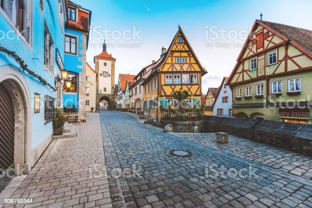 Oude Stad Van Rothenburg Ob Der Tauber Duitsland Stockfoto en meer beelden van Architectuur