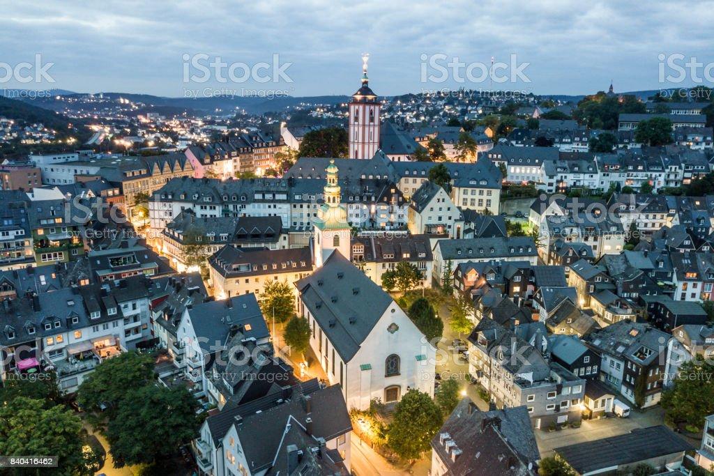 Alte Stadt Siegen in der Nacht, Deutschland Lizenzfreies stock-foto