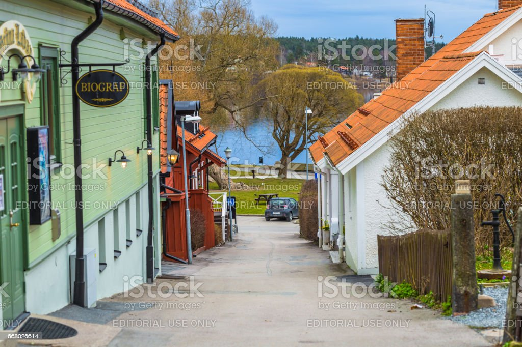 Sigtuna - April 08, 2017 : Old town of Sigtuna, Sweden stock photo