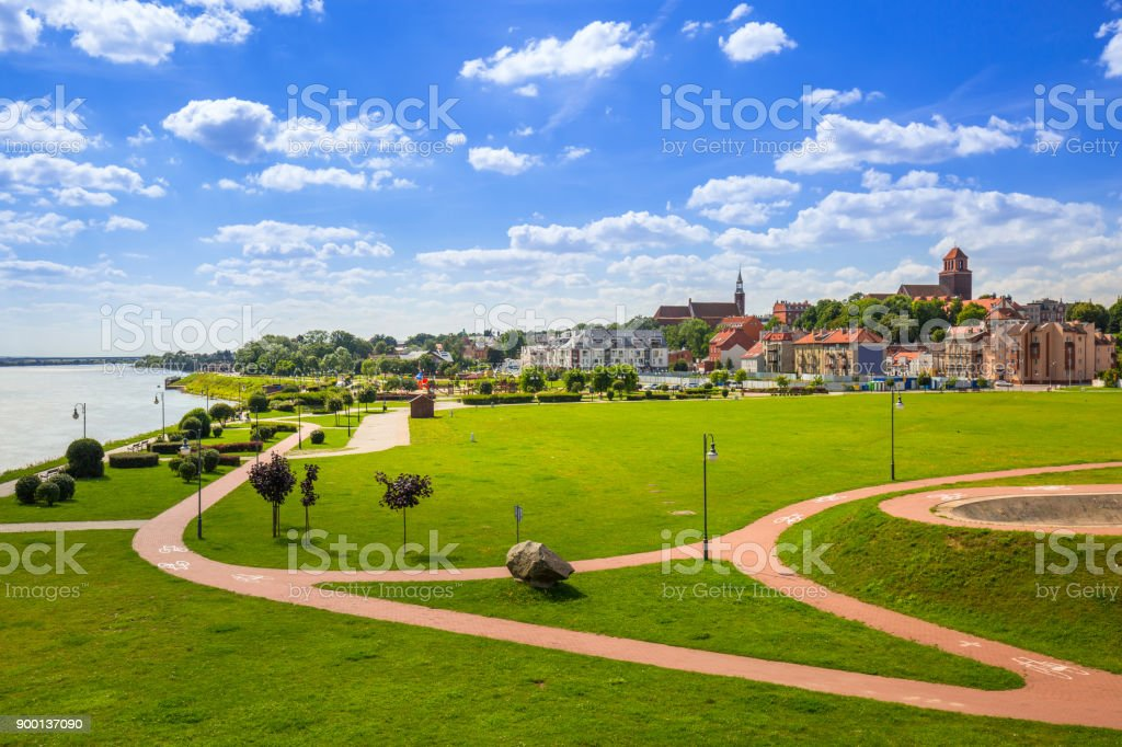 Old town of Tczew at Vistula river stock photo