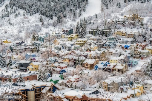 View of the old town district of Park City Utah in the winter