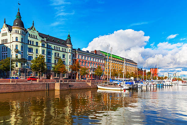 Old Town pier in Helsinki, Finland stock photo