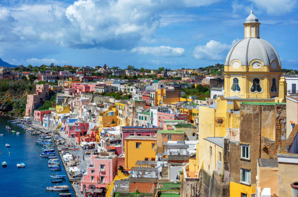 Old town, Procida island, Naples, Italy stock photo