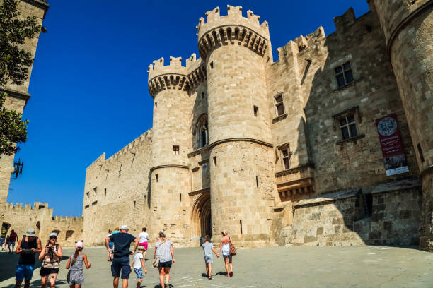 Old Town, Rhodes, Greece - The Palace of the Grand Master of the Knights of Rhodes stock photo