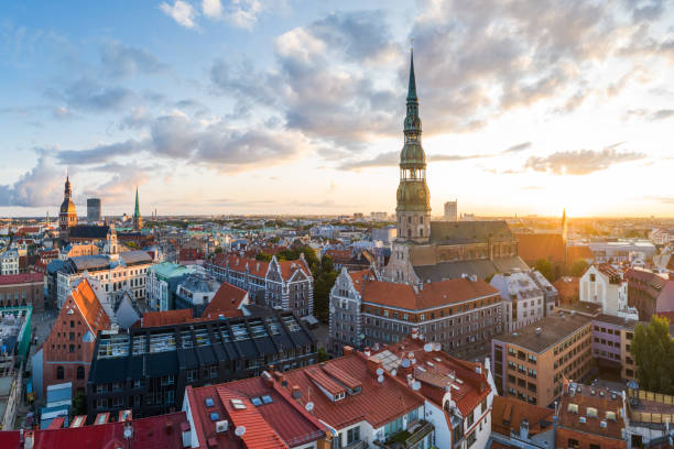 Old Town Riga panorama in early morning stock photo
