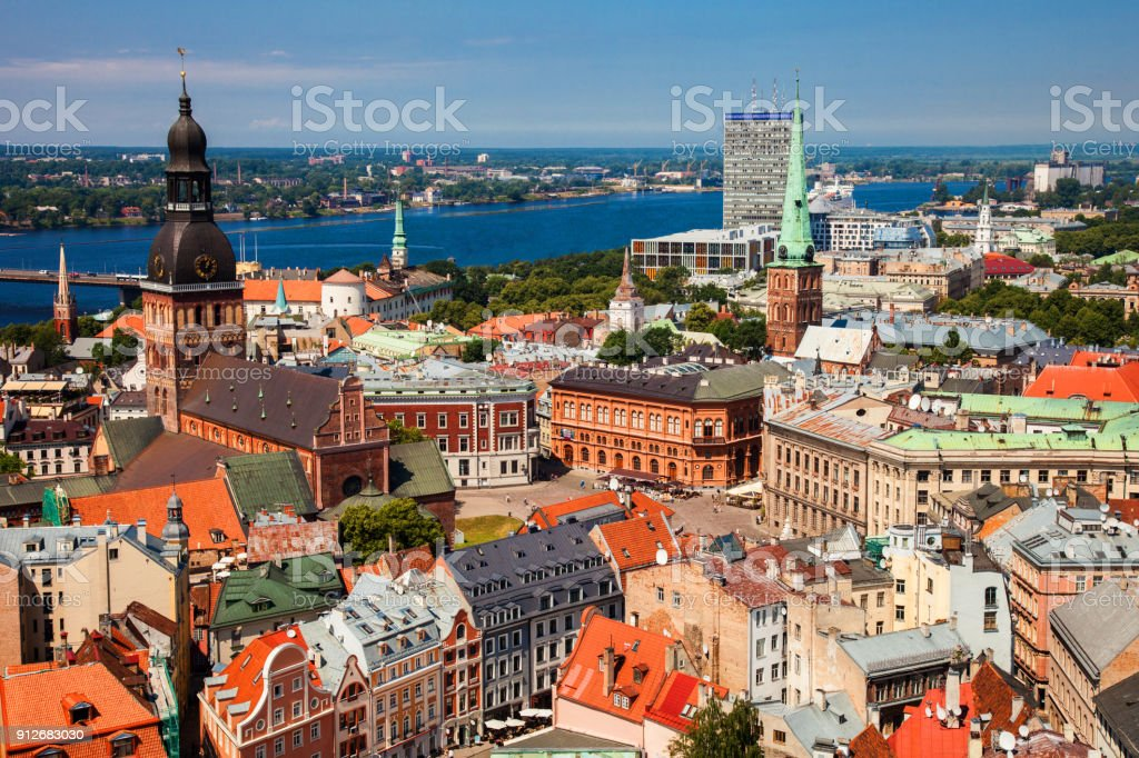Old Town Riga view from above stock photo