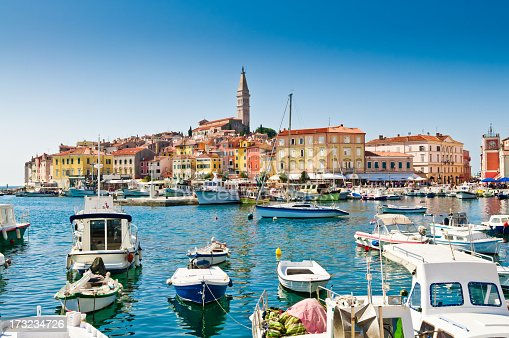 Old town, harbor, Rovinj, Croatia.