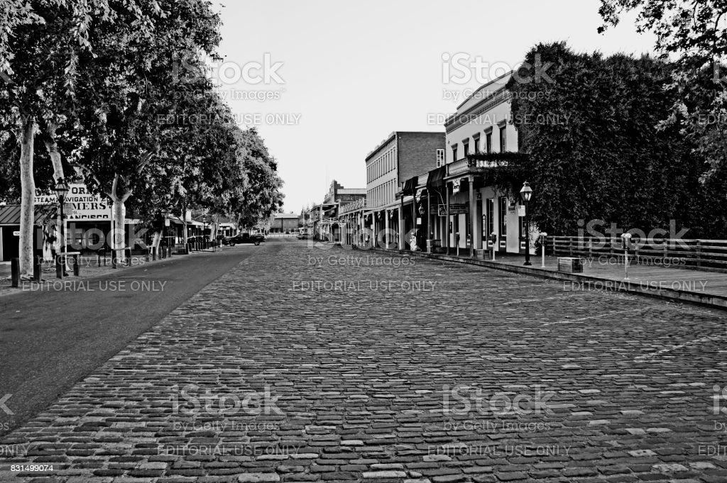 Old Town Sacramento Cobblestone Street Black and White stock photo