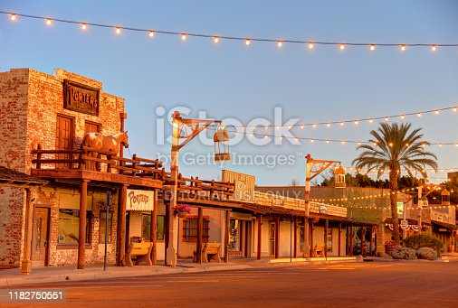 Scottsdale, Arizona, USA - March 9, 2019: Morning view of old west saloons and shops along Brown Ave in the Old Town District