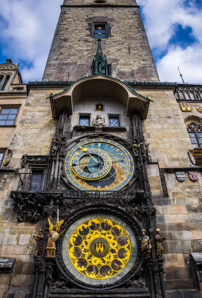 Old Town Square and ancient astronomical clock. Tourist attractions in Prague Famous tourist attraction of Prague. Ancient Astronomical Clock on the Old Town Square astronomical clock prague stock pictures, royalty-free photos & images