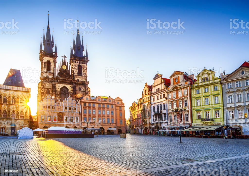 Old Town Square and Church of Our Lady before Týn in Prague at sunrise. Czech Republic Church of Our Lady before Týn in Old Town Square of Prague in the morning. Czech Republic Ancient Stock Photo