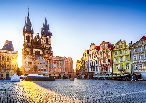 Old Town Square And Church Of Our Lady Before Týn In Prague At Sunrise Czech Republic Stock Photo - Download Image Now