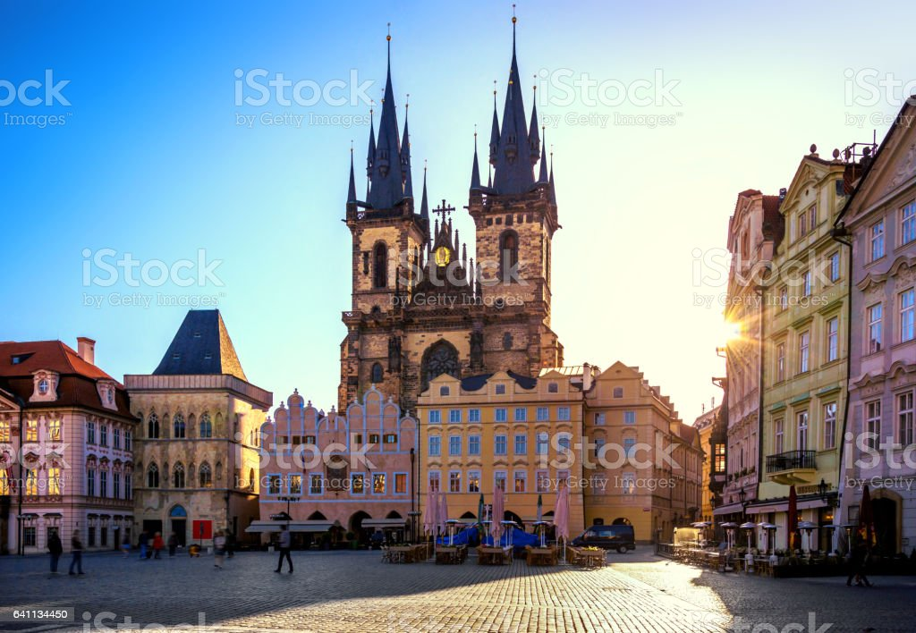 Old Town Square and Church of our Lady in Prague at sunrise stock photo