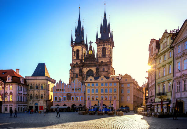 Old Town Square and Church of our Lady in Prague at sunrise Old Town Square in Prague at sunrise tyn church stock pictures, royalty-free photos & images