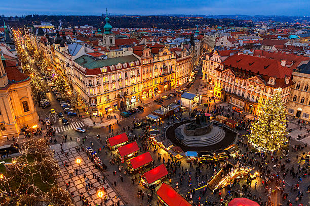 Old Town Square at Christmas time in Prague. stock photo
