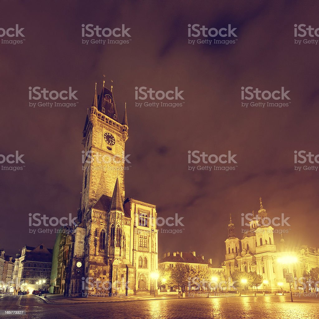 Old Town Square in Prague at night royalty-free stock photo