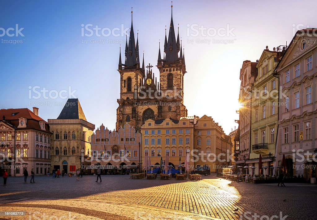 Old Town Square in Prague at sunrise stock photo