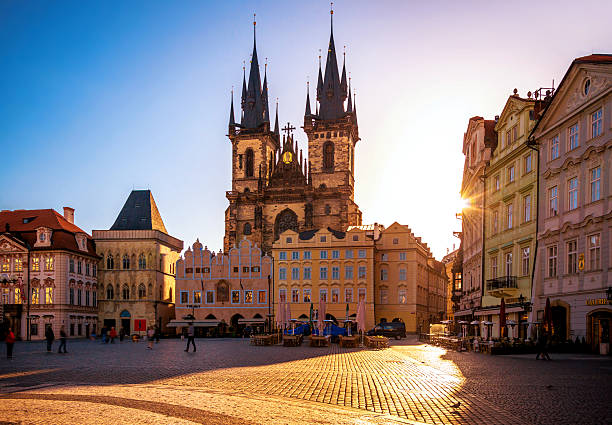 Old Town Square in Prague at sunrise Old town square in Prague, Czech Republic tyn church stock pictures, royalty-free photos & images