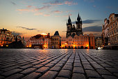 View on Old Town Square in Prague at sunrise