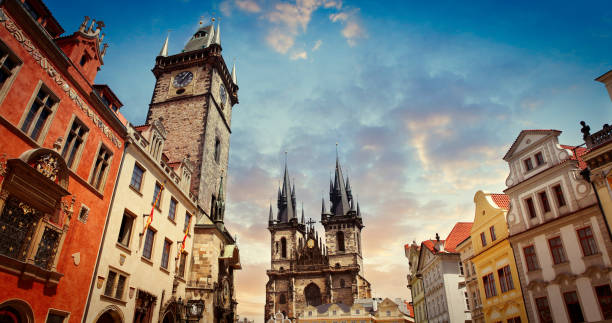 Old Town Square in Prague The Old Town Hall with Prague astronomical clock (orloj) and the Church of Our Lady before Tyn astronomical clock prague stock pictures, royalty-free photos & images