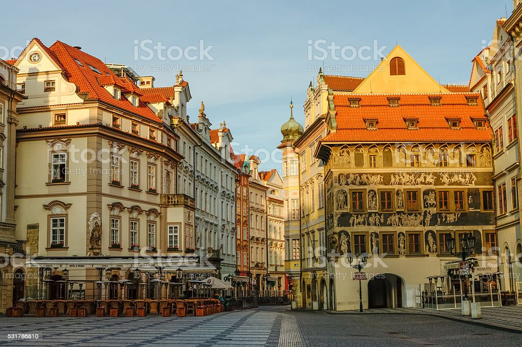 Old Town Square of Prague(Staromestske namesti) in early morning stock photo