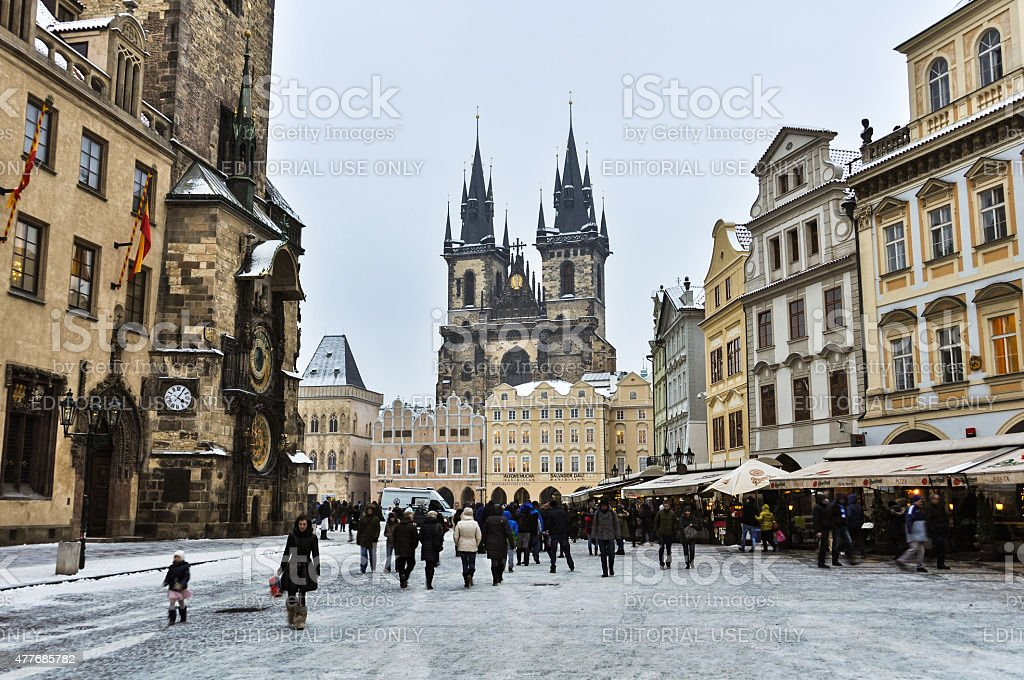 Old Town Square of Prague in Winter stock photo