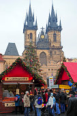 """""""Prague,Czech Republic-December 30,2009: Tourist and local people on the Christmass market, on the Old Town Square. The markets consist of brightly decorated, wooden huts selling traditional handcrafted products such as wooden toys, Bohemian Crystal, ceramic plates....In background Church of Our Lady before TAn"""""""
