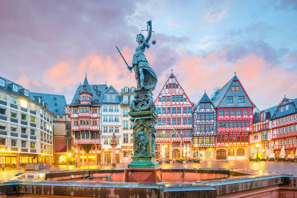 Old town square romerberg in Frankfurt, Germany stock photo