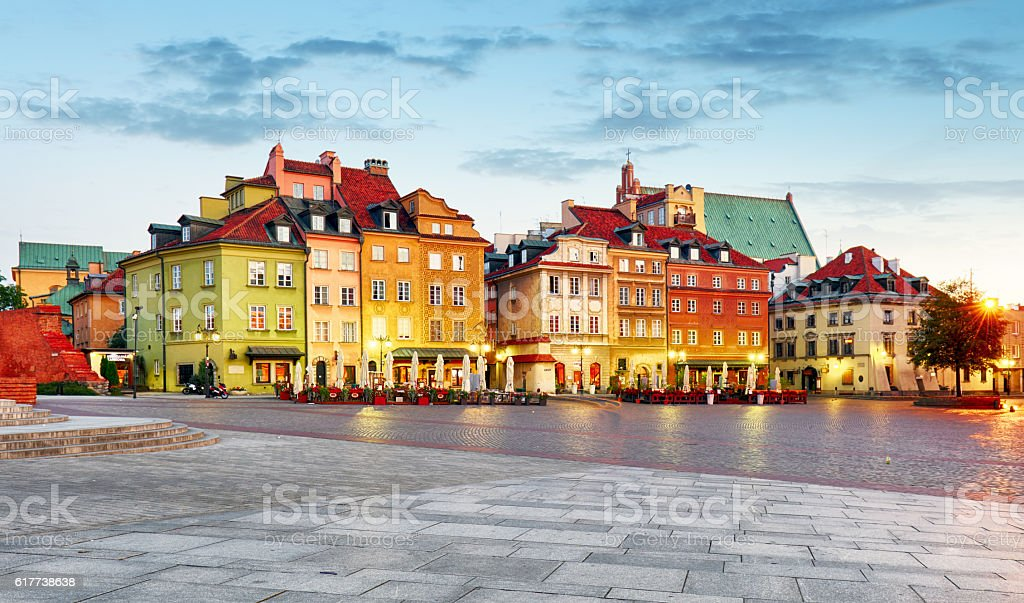 Old town square, Warsaw, Poland. stock photo