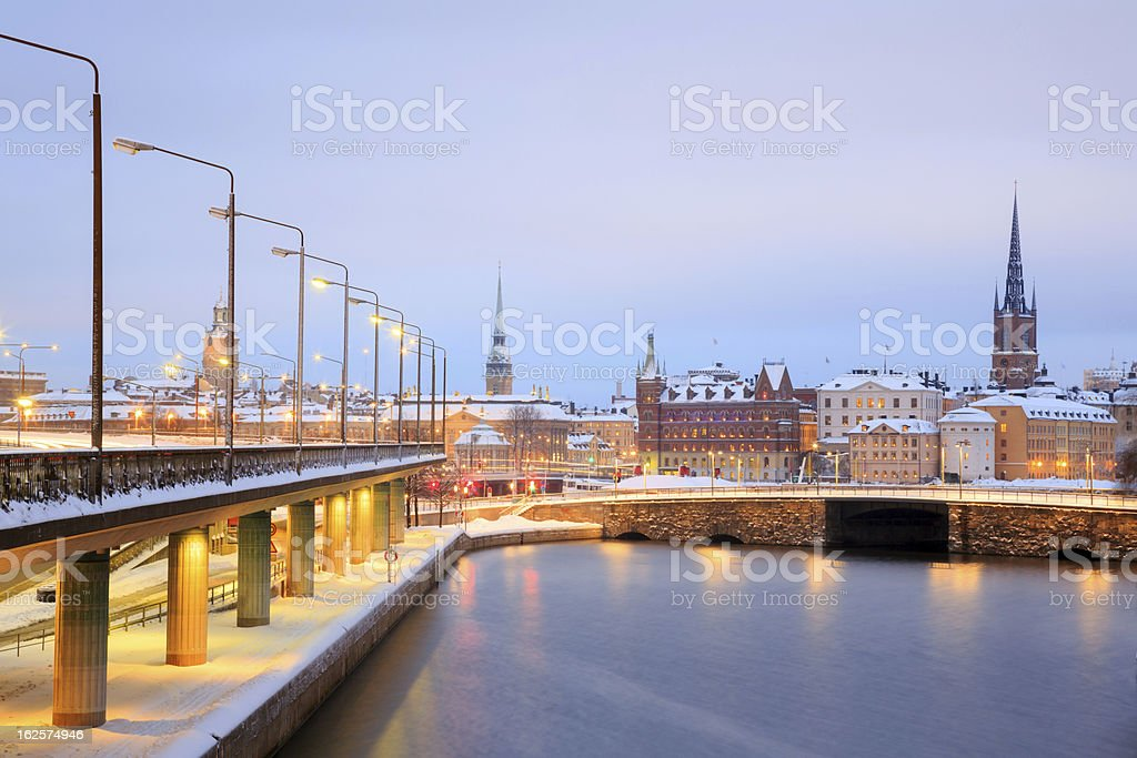 Old Town Stockholm city at dusk Sweden royalty-free stock photo