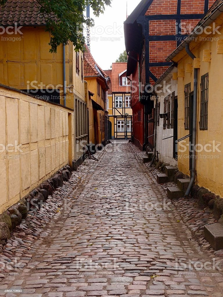 Old Town Street and Buildings, Odense, Denmark stock photo