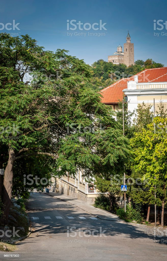old town street and traditional houses view of veliko tarnovo bulgaria - Royalty-free Architecture Stock Photo