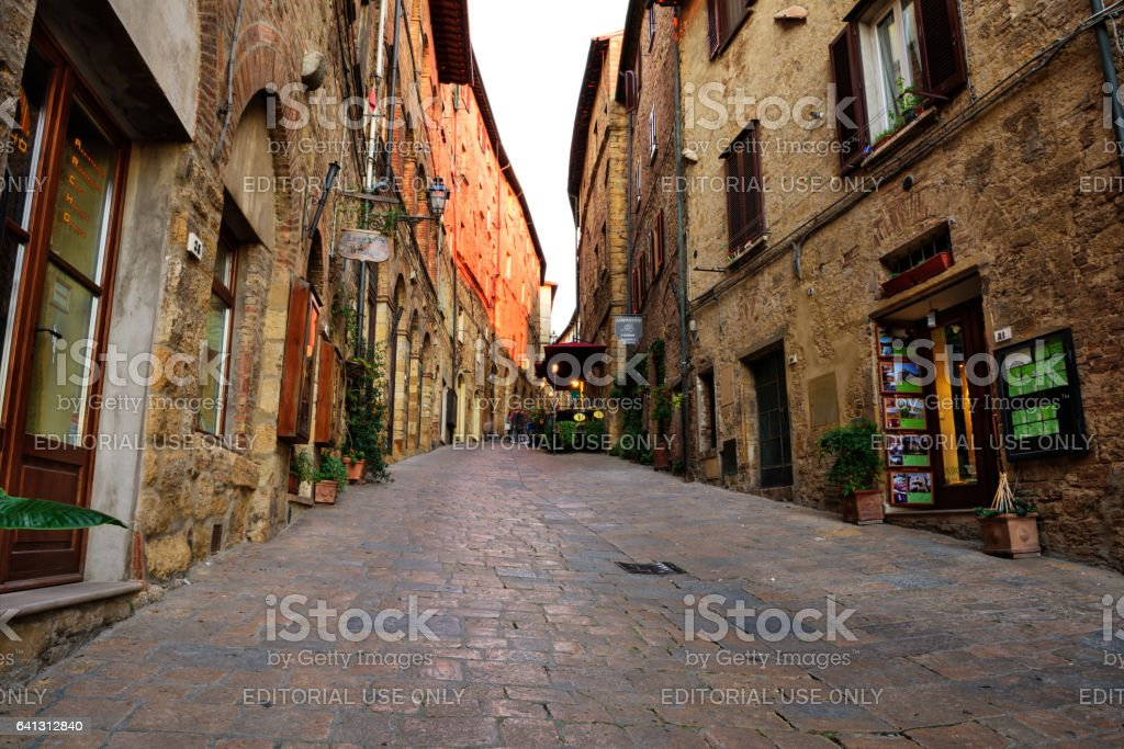 Old Town street in Volterra, Italy stock photo