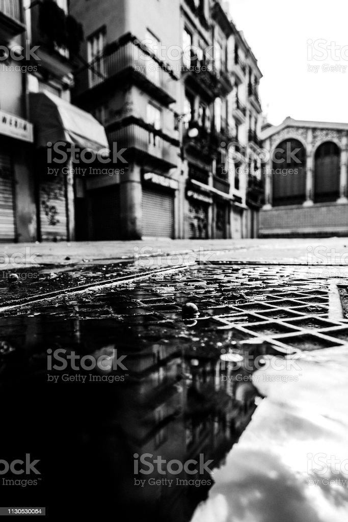 Old town street reflection - Valencia, Spain stock photo