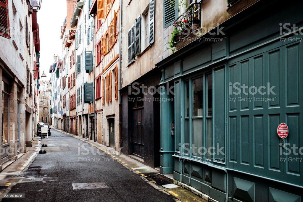 Old town streets - Bayonne, France stock photo
