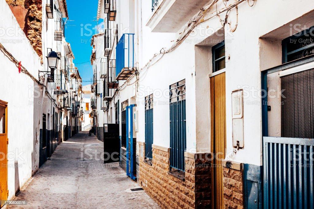 Old town streets - Onda, Spain stock photo