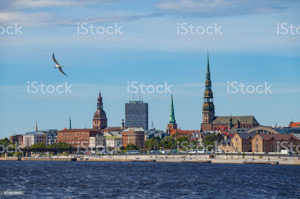 RIGA, LATVIA - 12 JUN 2016: Old town summer day view with Daugava river royalty-free stock photo