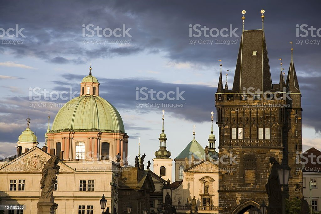 Old town towers stock photo
