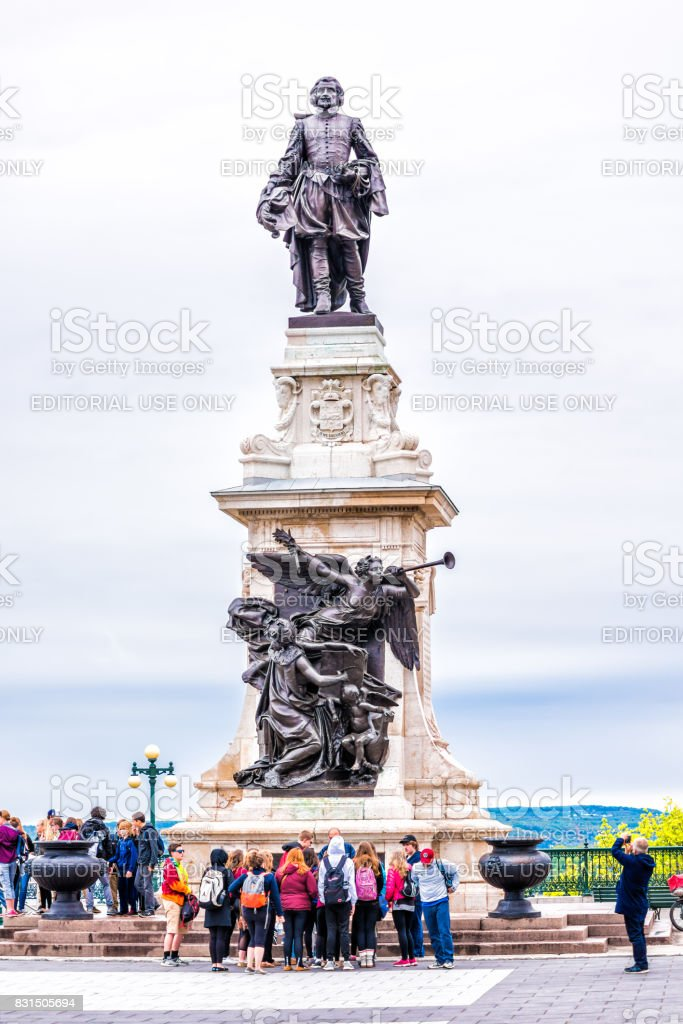 Old town view of Champlain monument statue by hotel Fairfmont Chateau Frontenac stock photo