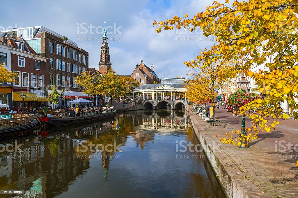 Old town view of Leiden city stock photo