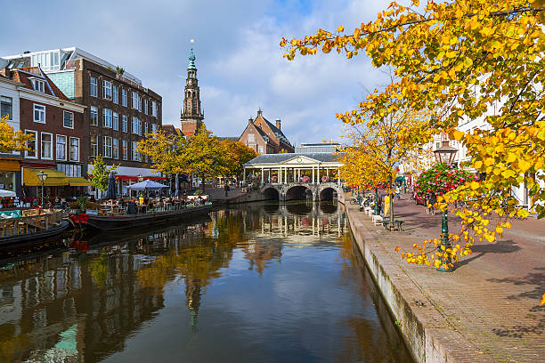 Old town view of Leiden city Old town view of Leiden city, Holland leiden stock pictures, royalty-free photos & images