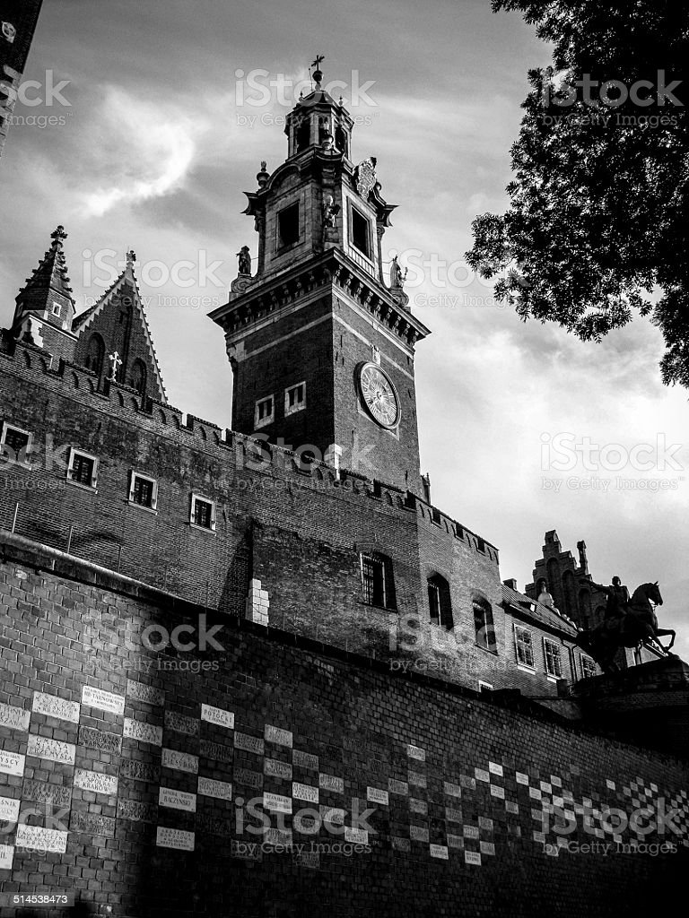 Old town Wawel in Cracow (Poland). Black and white version. stock photo