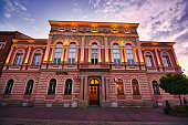 istock Old Town with historic landmark building called Mirror Hall in Tarnow, Malopolskie Province, Poland. Building exterior in the evening 1266469627