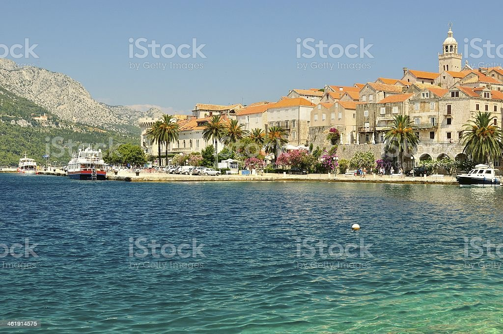 Old town with port of Korcula, Croatia stock photo