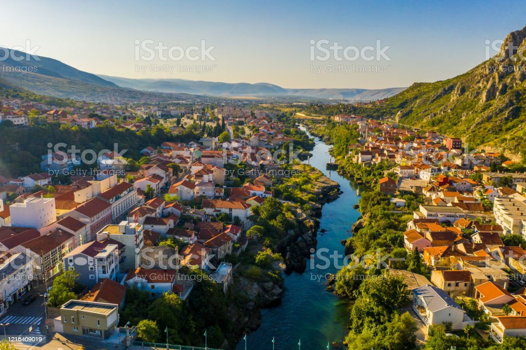 Old town with river, Mostar, Bosnia and Herzegovina Drone point of view shot of an old town and a river, Mostar, Bosnia and Herzegovina Abundance Stock Photo