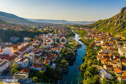 Drone point of view shot of an old town and a river, Mostar, Bosnia and Herzegovina