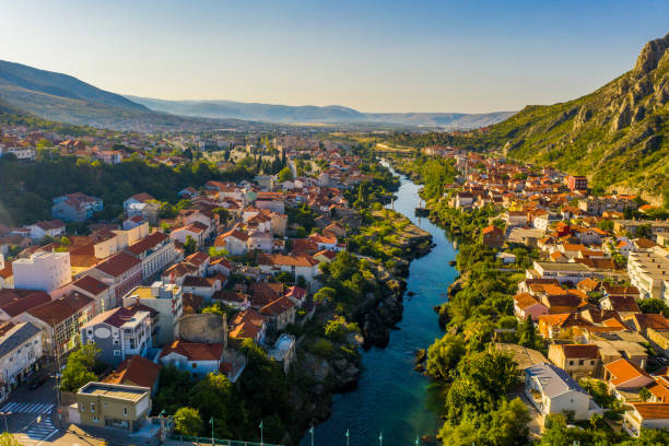 Old town with river, Mostar, Bosnia and Herzegovina stock photo